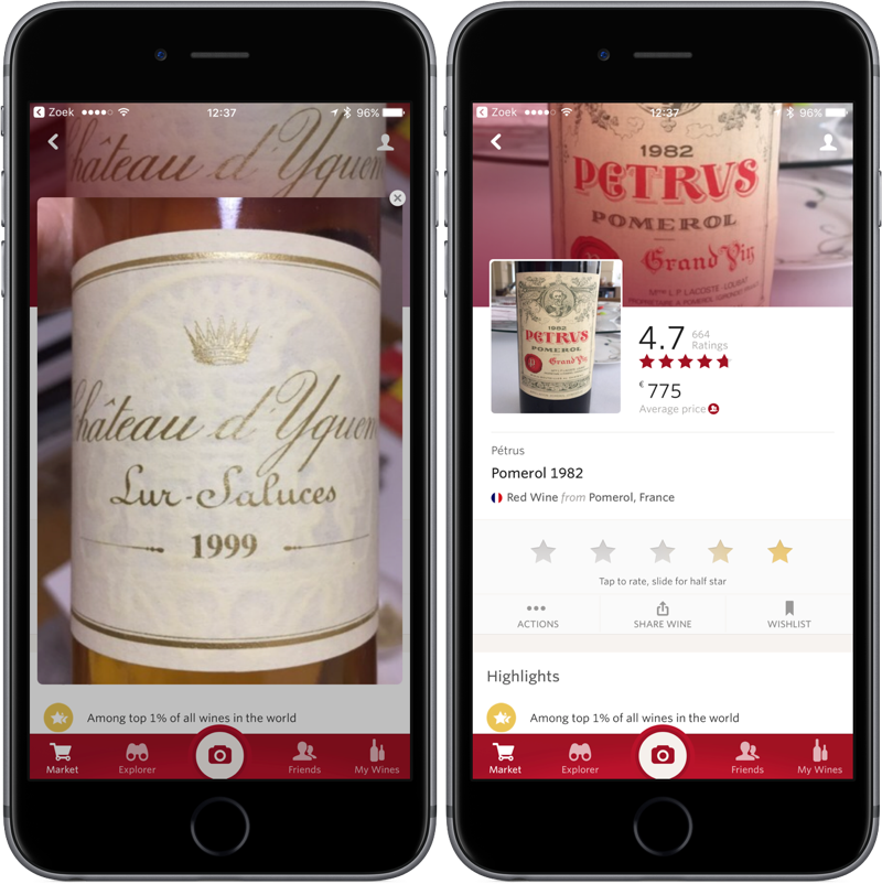 Vivino wijnfles scannen