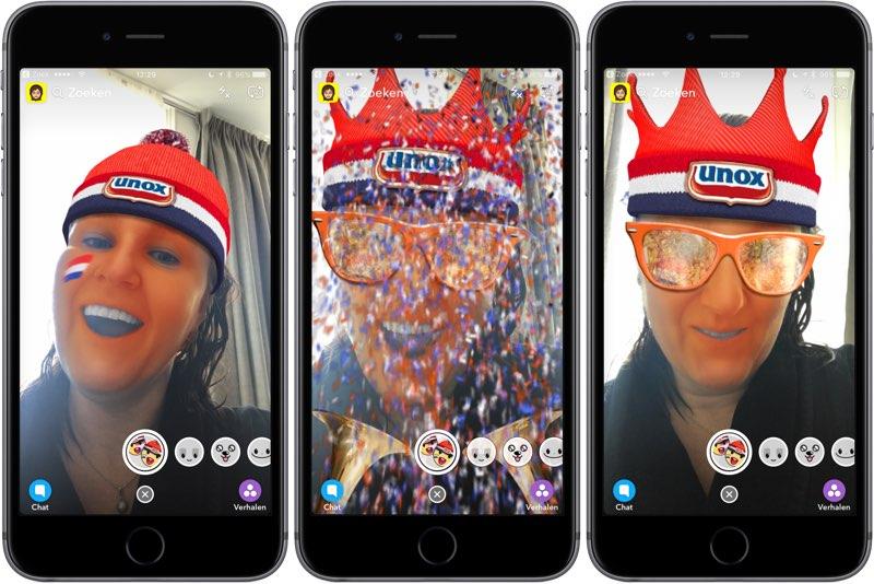 Unox Snapchat-lens