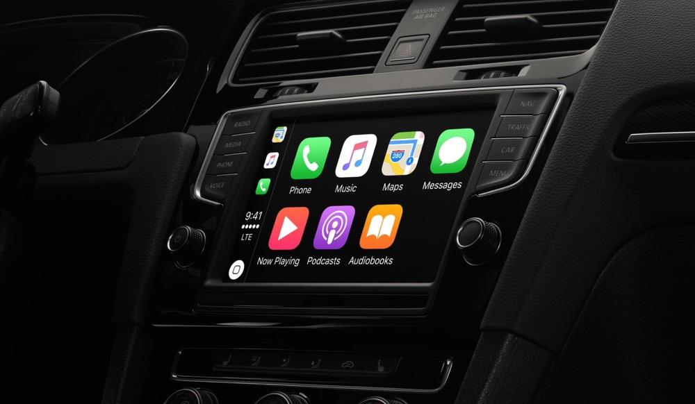 CarPlay startscherm in de auto.
