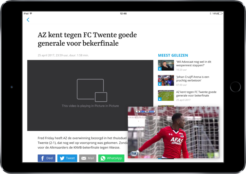 Voetbal International-app op iPad met picture-in-picture.