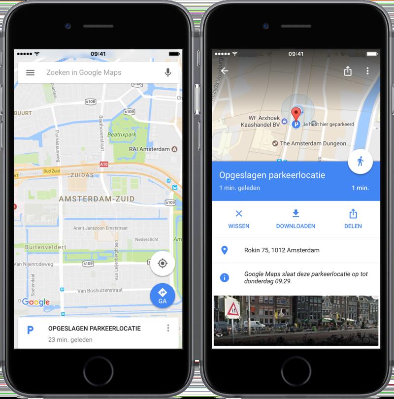 Google Maps parkeerlocatie bekijken.