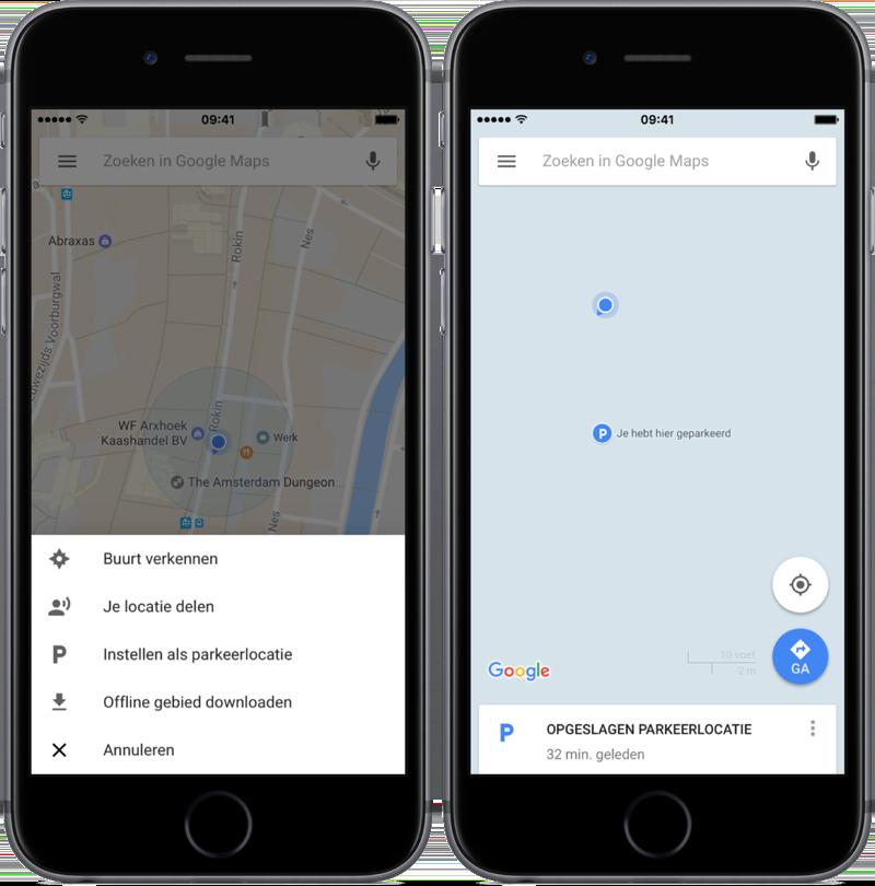 Google Maps parkeerlocatie handmatig opslaan.