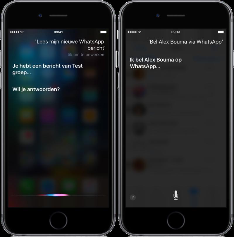 WhatsApp en Siri berichten voorlezen en bellen.