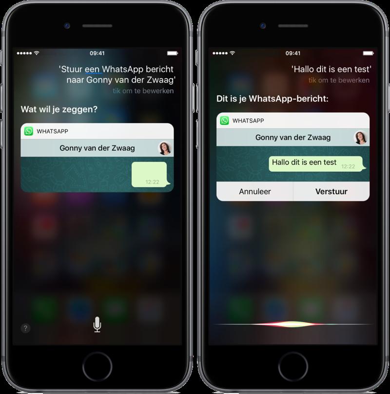 WhatsApp en Siri berichten versturen.