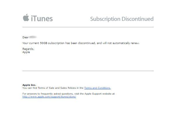 iCloud-abonnement stopzetting mail.