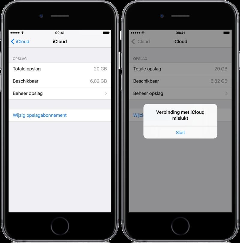 iCloud-abonnement upgrade met storing.