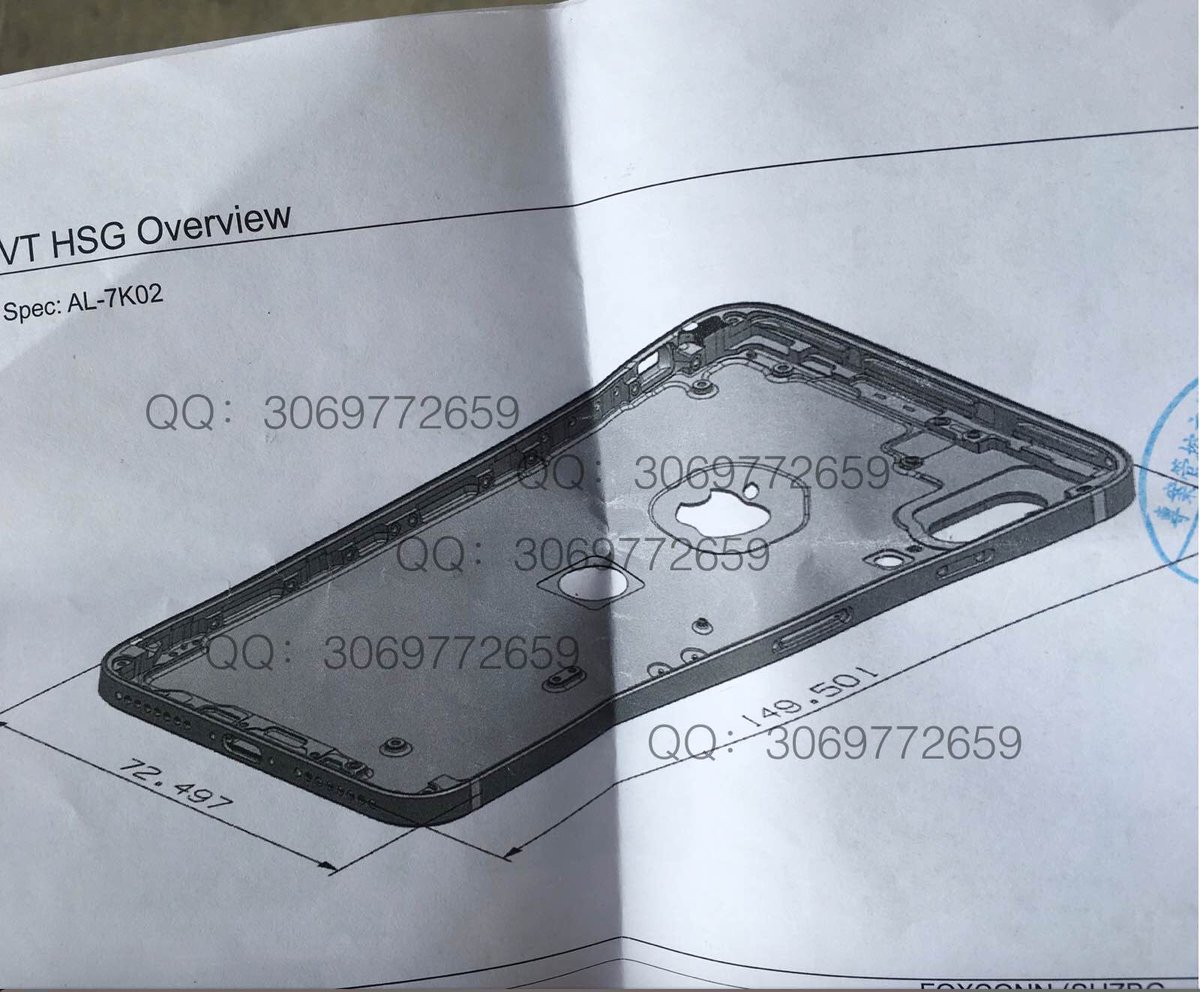 Schematische tekening van iPhone 8 met aluminium behuizing.