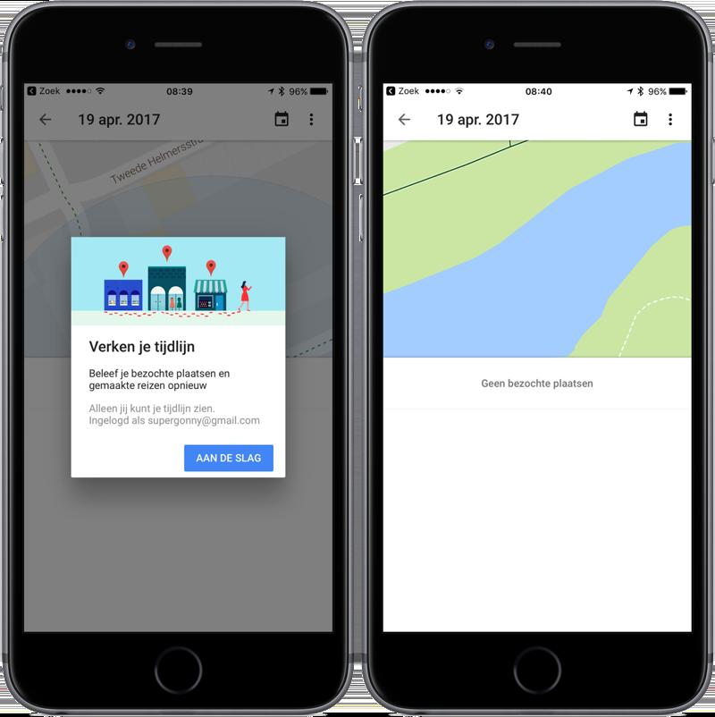 Google Maps-tijdlijn in iOS