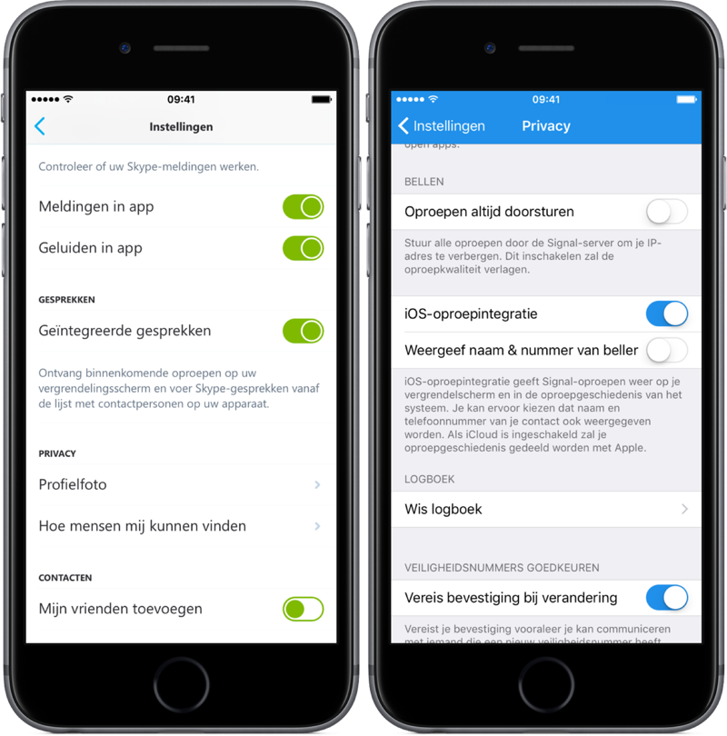 CallKit-instelling voor Skype en Signal.