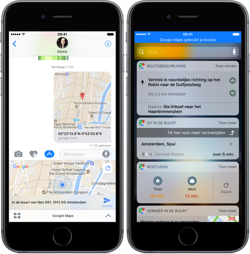 Google Maps in iMessage en navigatiewidget.