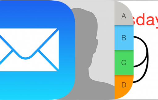 Mail-, agenda- en contacticoon in iOS