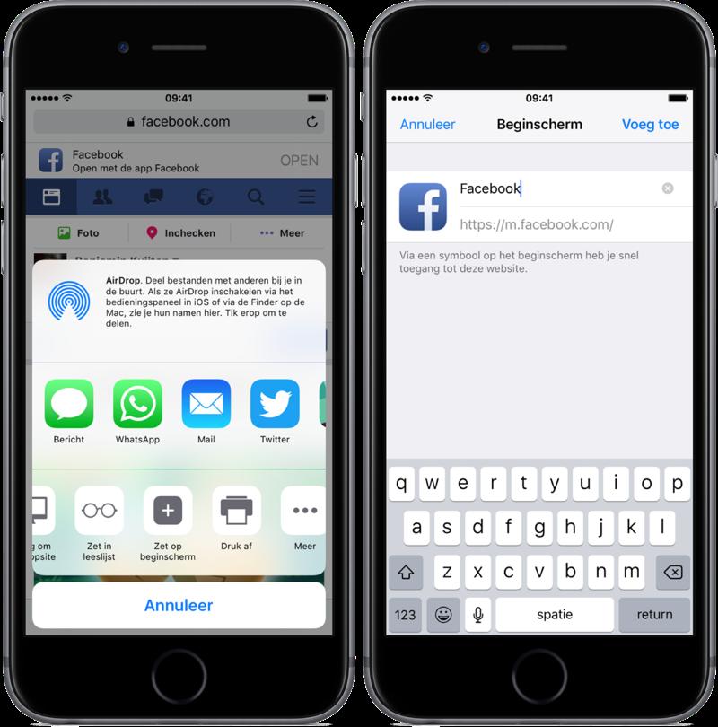 Mobiele site van Facebook op beginscherm.