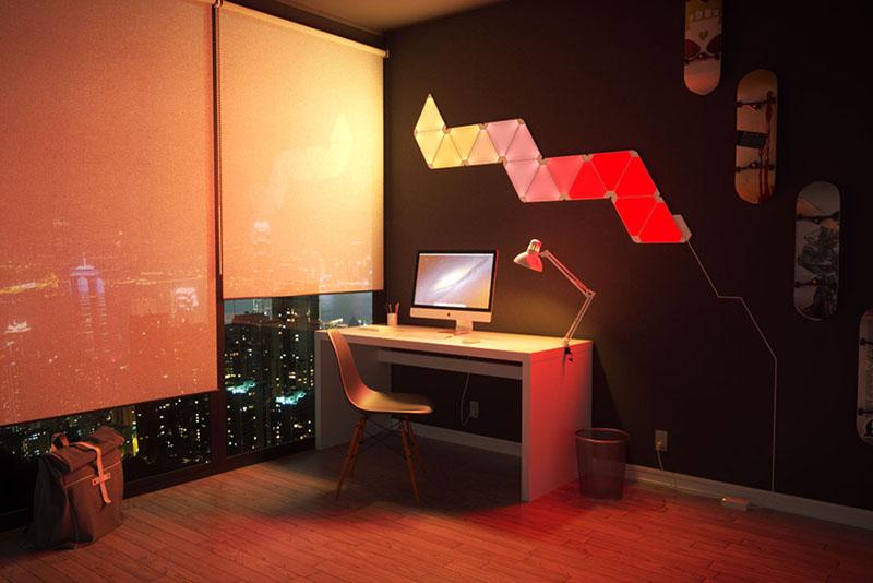 Nanoleaf Aurora: werkkamer met geelrood patroon