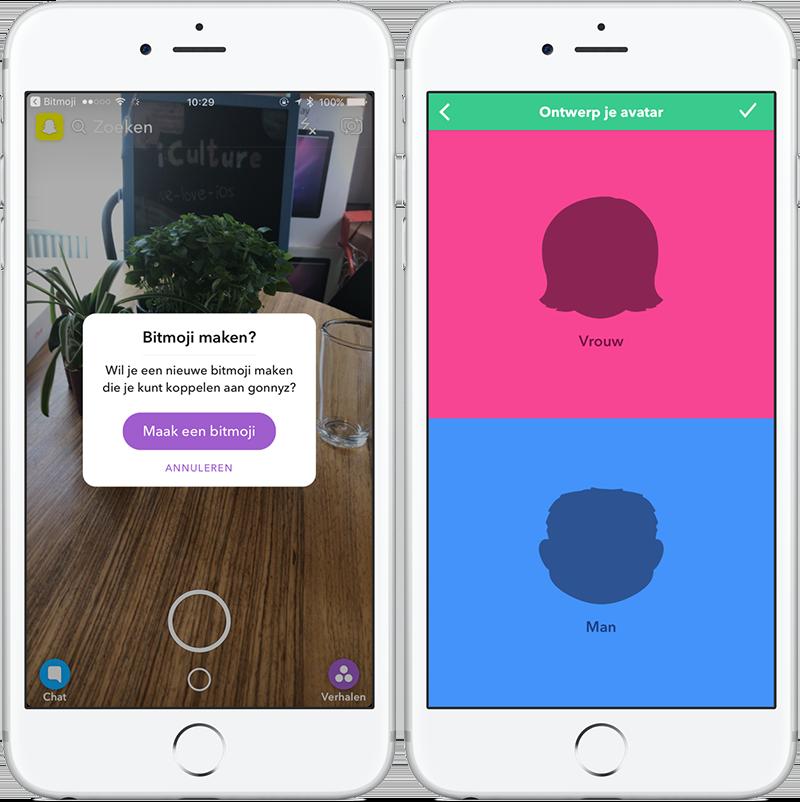 Bitmoji maken vanuit Snapchat
