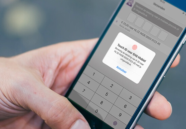 SNS Bankieren met verzenden via Touch ID.