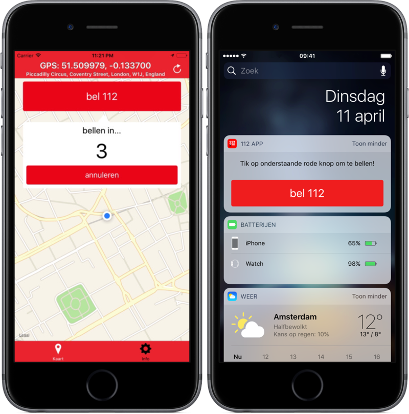 112 App belt alarmcentrale.