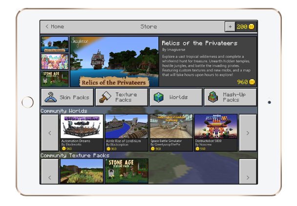 Minecraft Pocket Edition Marketplace.