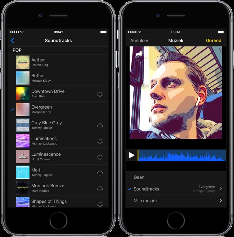 Standaard muziek toevoegen in de Clips-app.