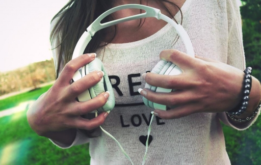 Hoofdtelefoon met muziek