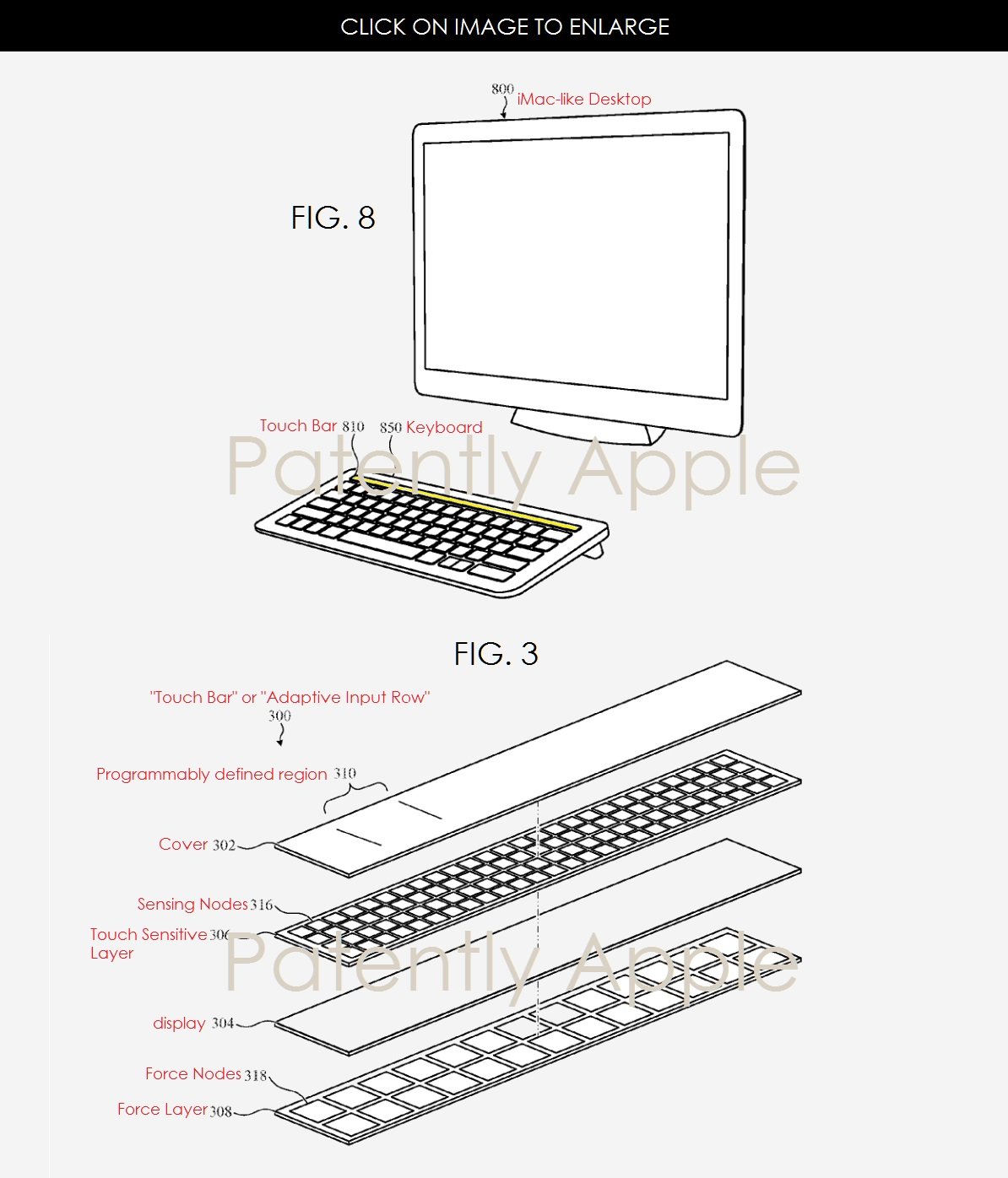Magic Keyboard met Touch Bar in patent.