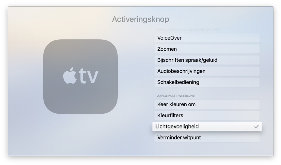 Lichtgevoeligheid op de Apple TV simuleert Night Shift.