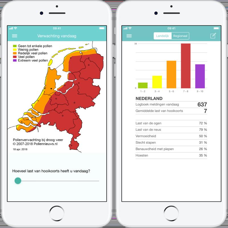 Pollennieuws met kaart en statistieken.