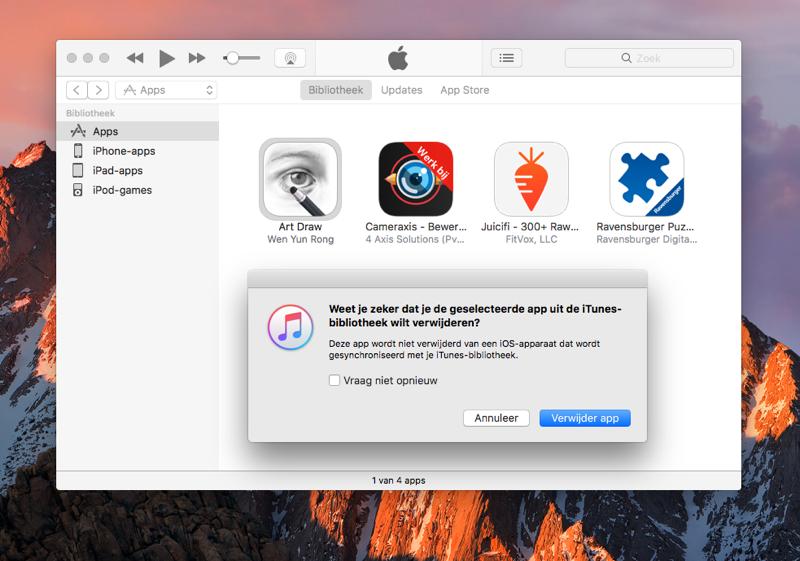 Apps verwijderen iTunes