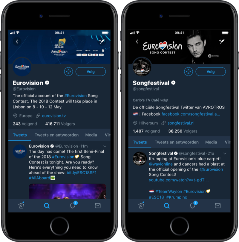 Eurovision Songfestival 2018 op Twitter.