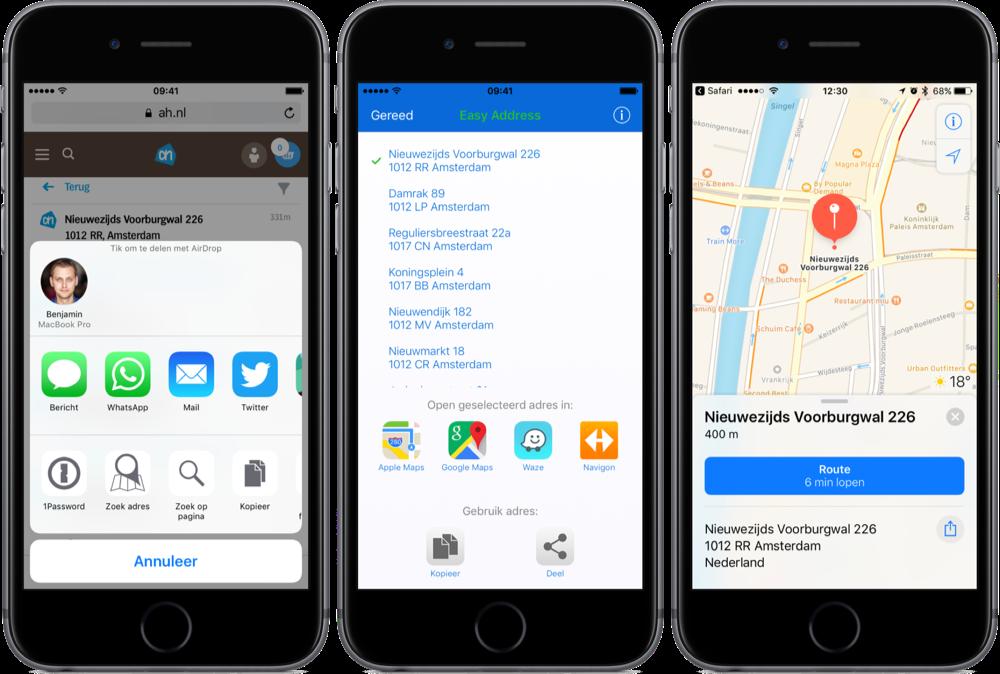 Easy Address voor Safari opent adres in navigatie-apps.