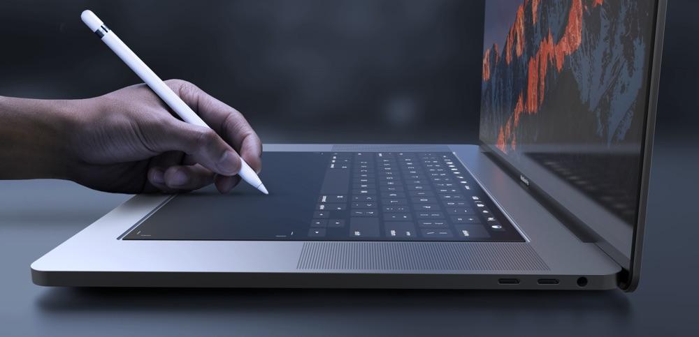 MacBook Pro concept met Apple Pencil.