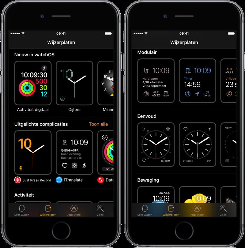 Wijzerplaten instellen voor Apple Watch op iPhone.