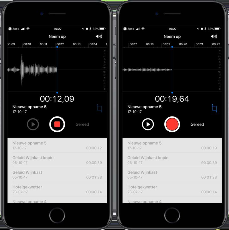 Dictafoon gebruiken op iPhone