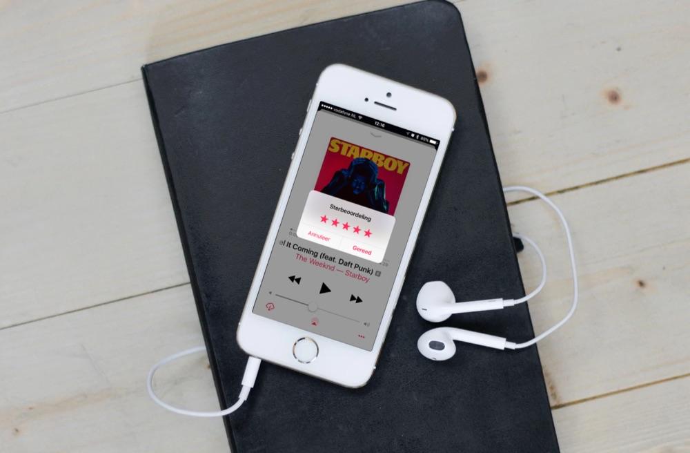 Ster beoordeling in de Muziek-app op de iPhone.