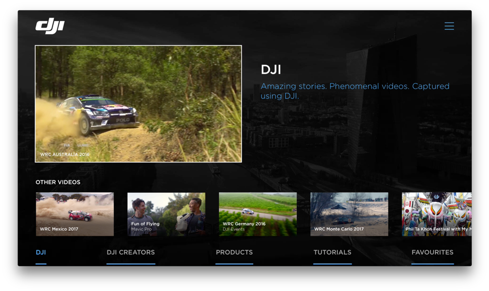 DJI voor Apple TV met interface.