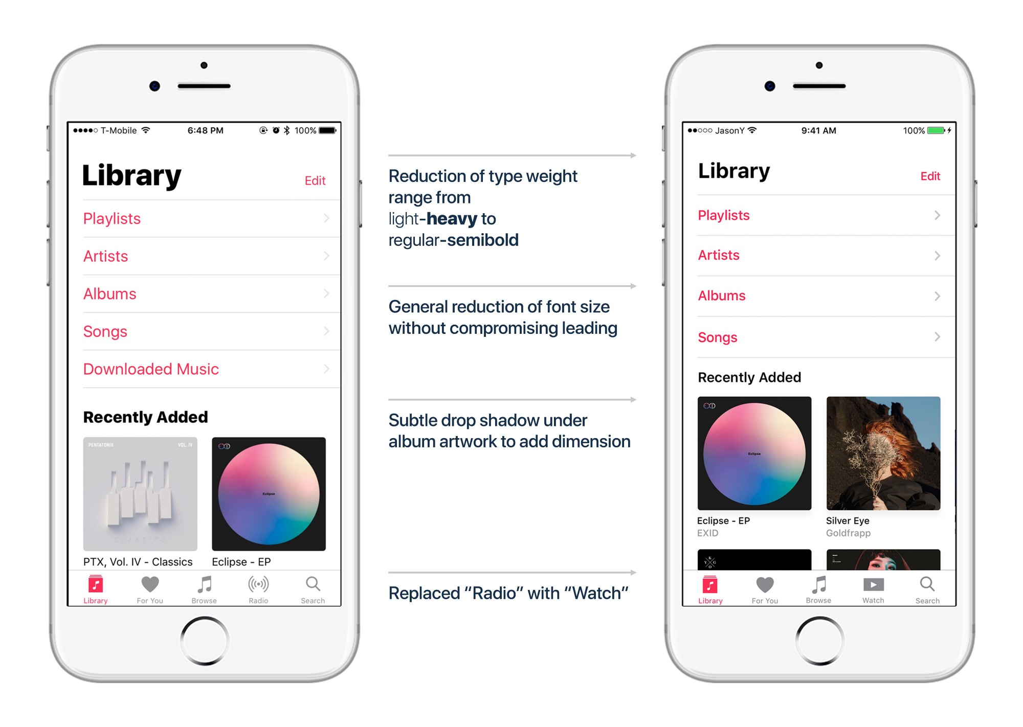 Apple Music concept voor kleinere tekst in iOS 11.
