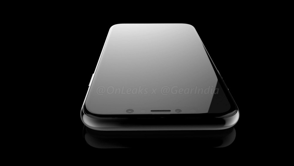 iPhone 8 render met de voorkant en de 3D-camera.