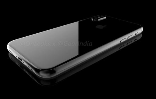 iPhone 8 render met de achterkant van glas.