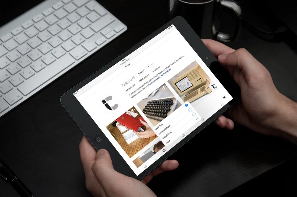 Instagram met mobiele site op de iPad.