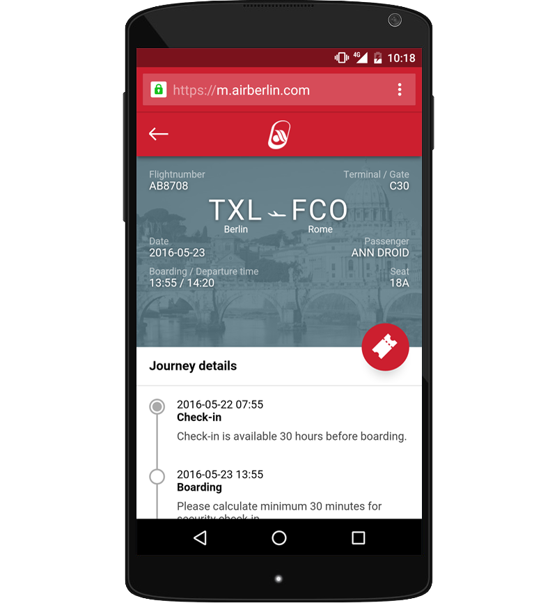 Progressive Web App van Air Berlin
