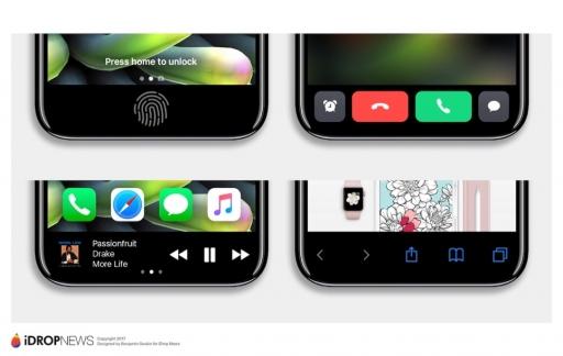 Concept iPhone 8 met functiepaneel.