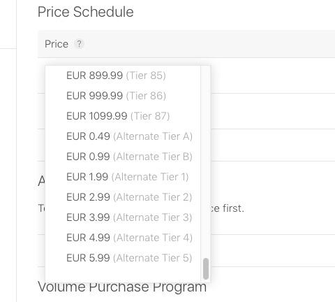 Alternatieve prijzen App Store.