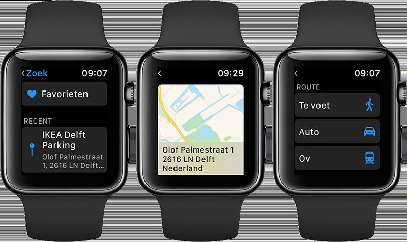 Apple Watch navigeren: route plannen