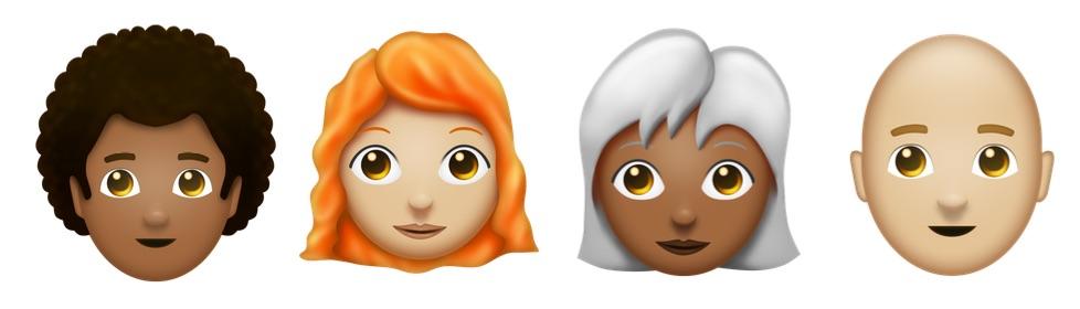 Afro, rood, grijs en kale emoji.