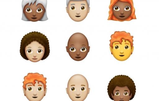 Kaal, grijs, rood en afro emoji.