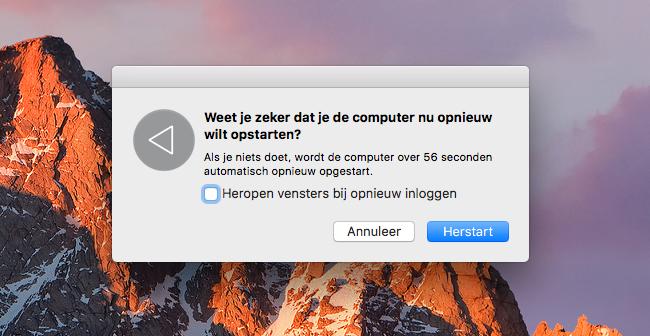 Mac: computer opnieuw opstarten
