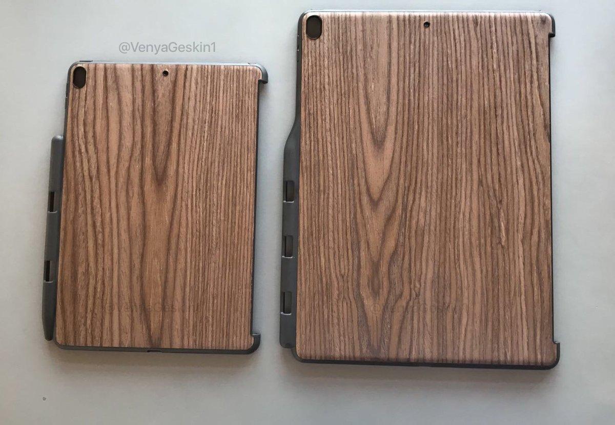 Mogelijke houten case voor 10,5-inch en 12,9-inch iPad Pro.