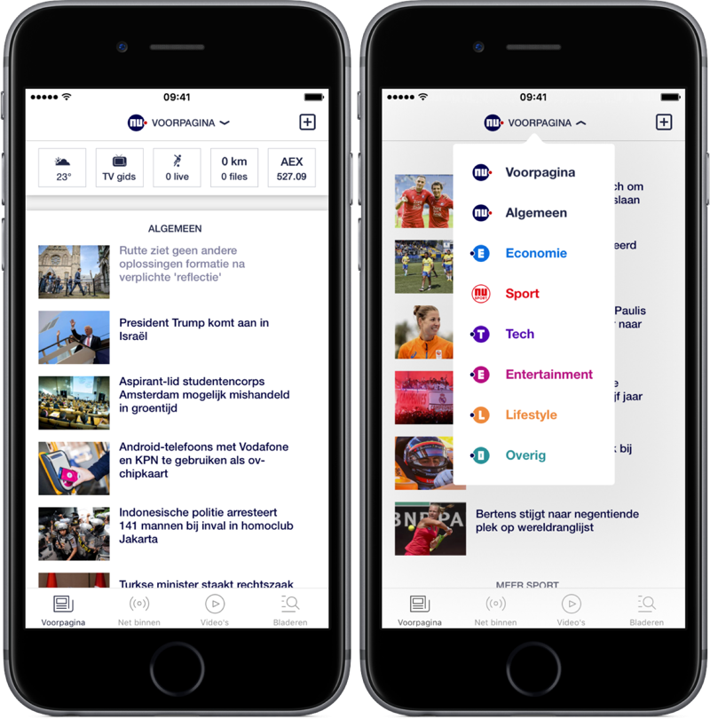 NU.nl met nieuw menu voor betere navigatie.
