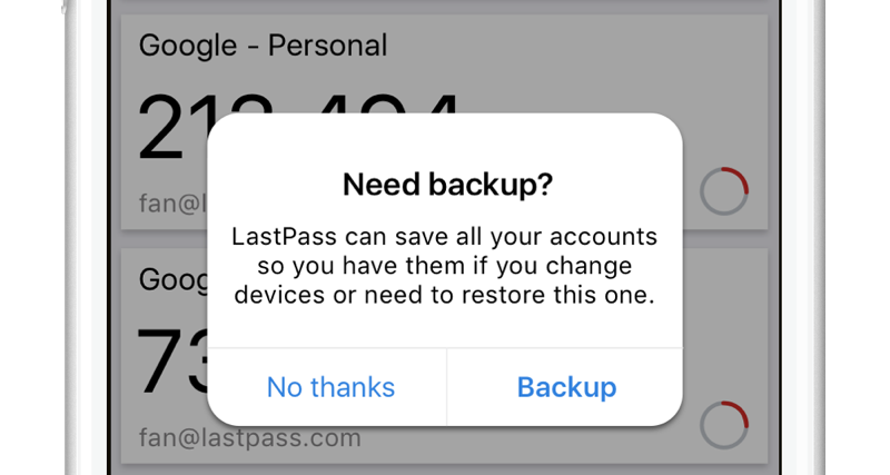 LastPass iPhone backup