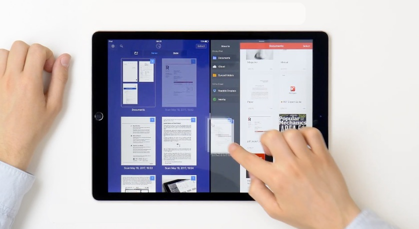 Drag en Drop tussen Readdle apps op de iPad.