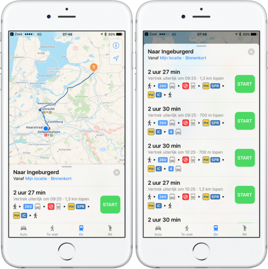 Apple Kaarten OV-route plannen